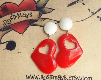 Red Heart Drop Earrings, Sweetheart Earrings, Rockabilly, Vintage Inspired, Resin Jewelry.