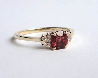 Red Spinel Diamond Bow Ring, Engagement Ring, Wedding Band, 14K Yellow Gold