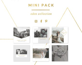 social media templates mini pack - eden collection - easy to edit pinterest, facebook, and instagram templates