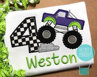Monster Truck Birthday Shirt / Monster Truck Shirt / Monster Truck Applique Shirt / Monster Truck Birthday / Green Purple Monster Truck