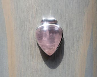 Rose Quartz pendant with Tubed Bail in Sterling Silver