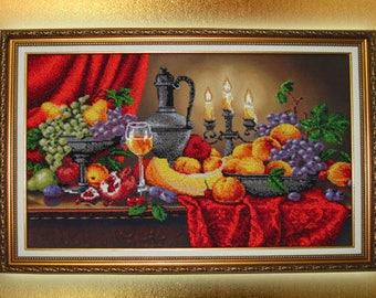 Original Beadwork Bead embroidery picture Gift-for-women Home decor wall art Gift-for-her Needlecraft Housewarming gift idea her Kitchen art