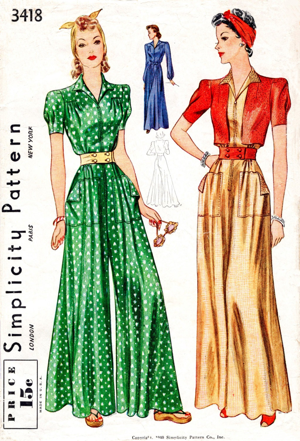 1930s 1940s Vintage Nähen Muster Reproduktion Overall Palazzo