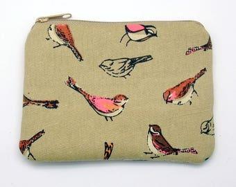 Bird - Zipper pouch / coin purse / card bag (padded) (ZS-242)