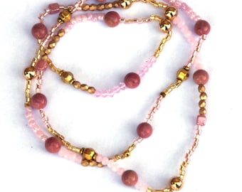 Beaded necklace, Rhodochrosite necklace, Long necklace, Pink and gold, gemstone necklace, gemstone jewelry, birthday gift, gift for women