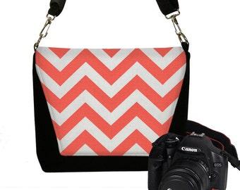 CLEARANCE Padded Water Resistant Chevron Camera Bag DSLR Camera Bag Slr Camera Bag Purse Pockets Woman's Camera Handbag Orange Coral RTS