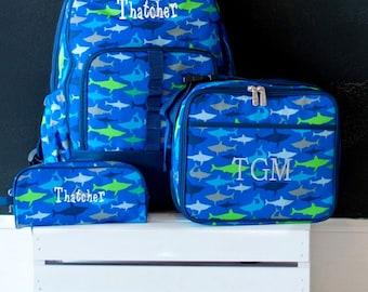 Boys Monogrammed Backpack-- Book bag Monogrammed -- Lunch Box -- Sharks --Pencil Bag Personalized bag-- Monogrammed Bookbag and Lunch Box--