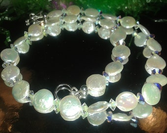 Amazing OOAK 18in Pearl and Swarovski Crystal necklace!! So Chic and sophisticated.