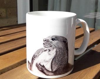 Otter Mug 10oz Ceramic Pencil Drawing Art Design, Coffee Nature Wildlife Novelty Gift Otters