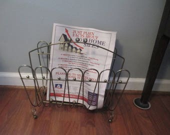 Magazine Rack, Hollywood  Regency Style  ,1950's Gold Tone Metal  Ball footing,Retro Estate Find