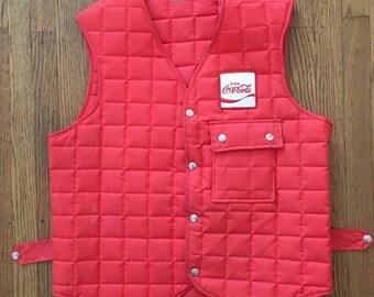 Vintage Coke Coca Cola Vest Jacket Union Made * Made In USA