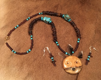 Gorgeous Spirit Mask Necklace and Earrings Set