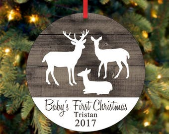 Baby's First Christmas Deer Ornament, Deer Ornament, Personalized Ornament, Custom Ornament, Holiday Ornament, 2017 Ornament (0034)