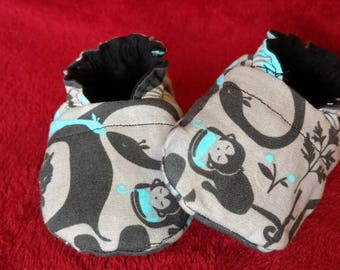 Grey, Blue and Black Jungle Reversible Baby Boy Shoes
