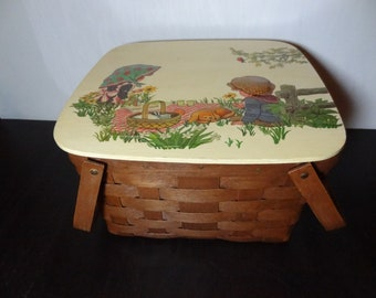 Vintage 1960's Hand Painted Raised Retro Country Kitsch Picnic Style Picnic Basket with Swing Handles