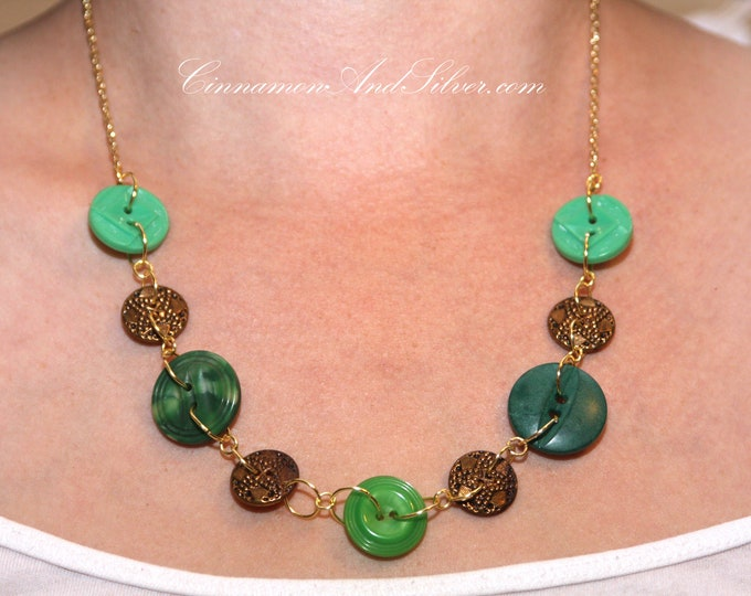 Green and Antique Gold Lucky Charms Button Necklace, Unique Green Button Necklace, Recycled Green and Gold Button Necklace