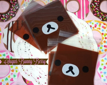 Kawaii Bear 10 Adhesive Cello Bags for Gift , Party , Cookies , Candy , Snail Mail , Packing , Pastrys , Diy, Party, Scrapbooking.