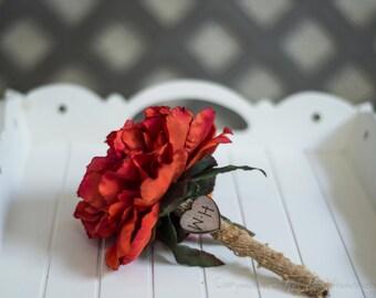 Burlap Guest book pen select flower showing orange peony pen
