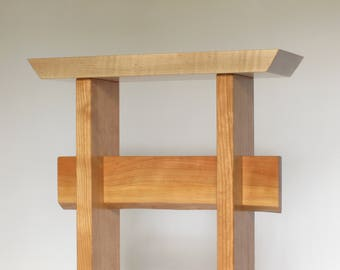 Maple and Cherry Statement Entryway Table: for the Front Door, Tall Narrow Hall Table, Wood Entry Table, Custom Table- Custom Wood Furniture