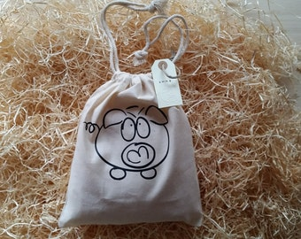 Organic cotton gift bag with personalized tag.