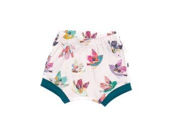 Free Bird Baby Shorts, Newborn Shorts, Toddler Bird Floral Shorts, Organic Baby Shorts, Birds Shorts, Floral Shorties