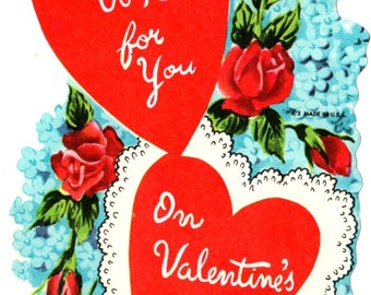 Vintage A Wish For You Die-Cut Children's Classroom Valentine's Day Card UNUSED