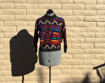 Vintage 90s Kids Primary Colors Abstract Geometric Crop Sweater Sz L NWT