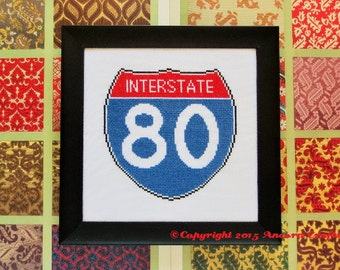 Interstate Road Sign Cross Stitch Pattern PDF