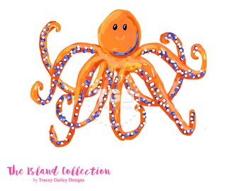Preppy Octopus clip art - Original Art download, orange and navy octopus, octopus art, preppy clip art, invitation clipart, kids clipart
