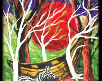 """""""After me the flood ' gouache on paper"""