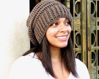 Crochet Slouchy Hat, Tam, Ribbed, Beehive Hat, Women, Men, Teen, Tam,  Adult, Color Taupe,