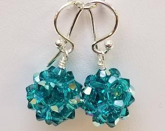 Blue Zircon AB, Swarovski, Crystal Ball, woven, Sterling silver, earrings, Blue zircon, Blue, Green
