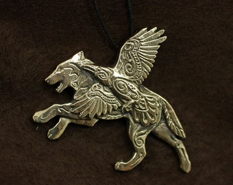 Wolf and Raven Winged Wolf bronze pendant necklace