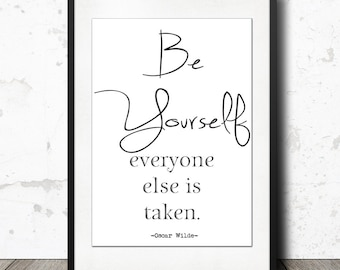 """Oscar Wilde - Be Yourself - Inspirational Quote Art Poster 24 x 36"""" - Motivational Typography / Nordic Interior Design Wall Art - Minimalist"""