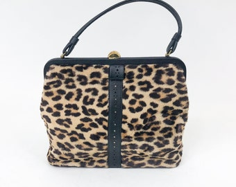 60s Leopard Handbag | Faux Fur Leopard Purse