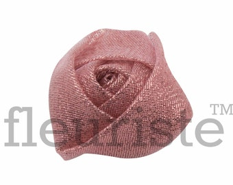 DUSTY PINK Sparkle Rosette, Fabric rose, Rolled Rosette, Wholesale Flower, Fabric Flower, Wedding Flower, Flower Embellishment, Diy Flower