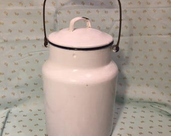 Large White Enamelware Milk or Cream Pail