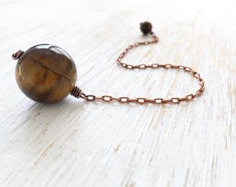 Tiger's Eye Pendulum, Copper Crystal Pendulum, Reiki Healing, Wiccan Tool, Divination Stone, Intuition, Gemstone Pendulum Crystal Ball Wicca