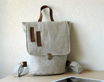 The Backpack - Upholstery European Natural Linen and Leather - Christmas in July Sale