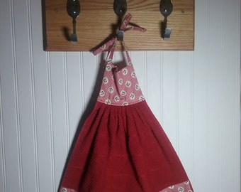 Cherry hanging towel Hanging towel with ties Kitchen towels Towels Cherry decor Cherry theme