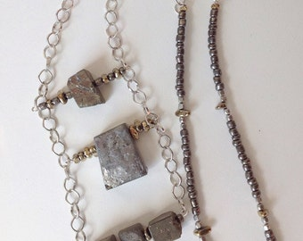 Pyrite, and silver stone chain necklace