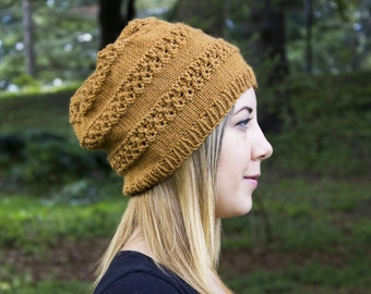 Mustard Slouchy Knit Hat - Gold Vegan Hat - Boho Hat - Hipster Hat - Hippie Hat - Womens Tam - Mens Beanie - Acrylic Handknit - Gift for Her
