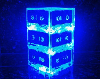 Custom reserved OVERNIGHT shipping 9/28 for Brandi for 2 Blue Lighted Table Centerpieces