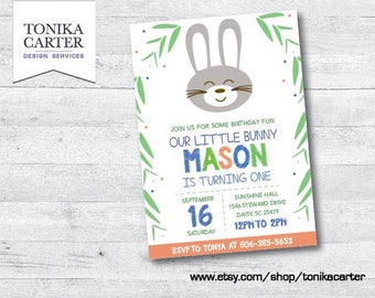 Bunny Birthday Party Invitation (boy)