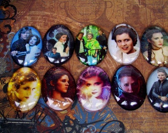 Star Wars Fan Art Mix (L37) Leia Organa, Jewelry Craft Supply, Mixed Lot of 10 Pieces, Digital Image Under Glass Oval Cabochon