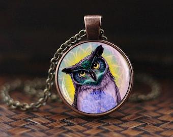 Owl pendant, Owl necklace, vintage owl necklace, vintage art glass pendant, owl art painting necklace,