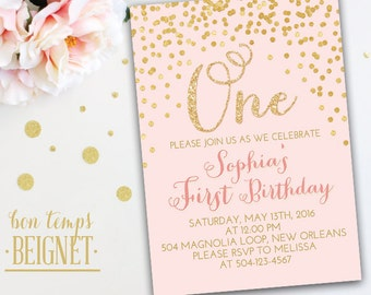 Gold Glitter Confetti - Birthday Party Invitation - 5x7 Printable Invitation - Pink and Gold Invite