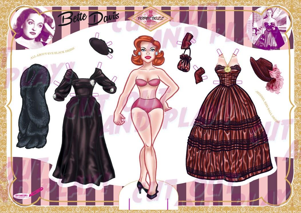 Bette Davis Paper Doll Hollywood Party Film-Partei