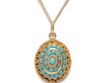 Antique Large Oval Turquoise and Gold Necklace