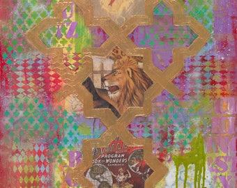 "Mixed media painting 'Roar' 18 x 24"" Colorful mixed media art Circus theme Inspiring art Boys room wall art Fun painting Pop art painting"